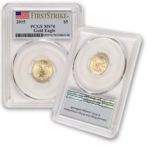 2015 1/10 oz Gold American Eagle MS-70 (First Strike – Flag Lable) by CoinFolio $5 MS70 PCGS
