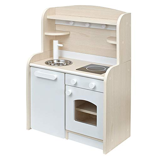 木製 ままごとキッチン minicook(ミニクック) (組立品Ver.4 ワゴンタイプ, ホワイト)