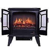 Estufas para chimeneas Chimenea eléctrica Independiente de Llama, 900 W-1800 W para el hogar y la Oficina, Efecto de Llama LED, función de calefacción, para el hogar y la Oficina