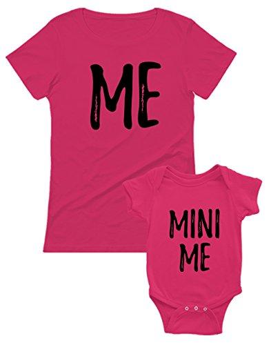 Set Mère et bébé t-Shirt et Body - Me & Minni me Cadeau pour Maman BB Fuchsia 3-6 Mois/Mam Fuchsia Large