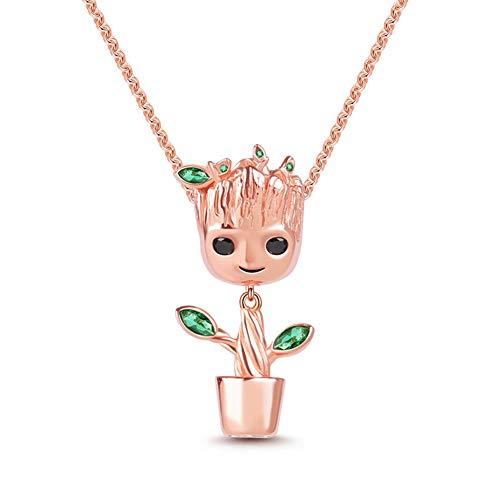 Gnoce I am Groot  Collana Groot in Argento S925 Placcato Oro Rosa 18k Con Pietre Verdi Regalo di Natale per Famiglia Moglie Figlia Amico