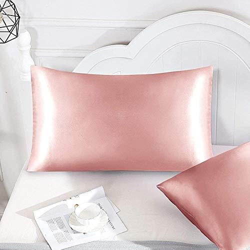Elxf Juego de 2 fundas de almohada de seda para el cabello y la piel, 2 fundas de almohada de seda 100% 19 Momme Charmeuse - Rose_gold_20 inx40in2pcs