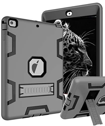 TOPSKY iPad Air Case, iPad A1474/A1475/A1476 Kids Proof Case, Heavy Duty Shockproof Rugged Defender Kickstand Protective Cover Case for iPad Air Grey Black