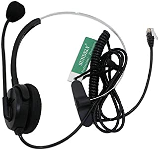 SUNDELY Call Center Telephone/IP Phone Headset&Boom Mic 4Pin RJ9 Modular Connector for 3Com Aastra Alcatel-Lucent AltiGen Ascom AVAYA Cable&Wireless Cisco Comdial Commander Doro/Audioline Ericsson ESI