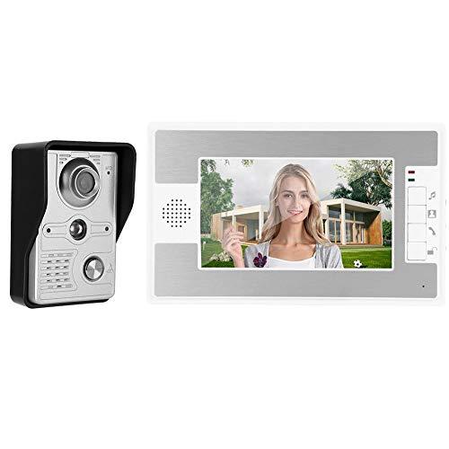 Sistema de Videoportero con Cable de 7 Pulgadas, Kit de Timbre de Video con Pantalla Tft + Intercomunicador + Sistema de Acceso Remoto de Visión Nocturna 100-240v(EU)