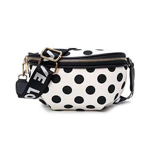Riñonera XYDBB para La Moda De Nylon Fanny Pack Práctico Bolsa De La Correa Mujer Viaje Bandolera Bolso Chica Linda Pecho Bolsas 23 * 14 * 5 cm Bolsa de Cintura Blanca