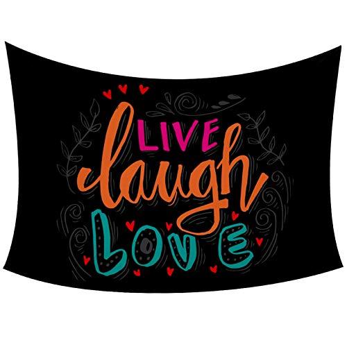 Tapiz para colgar en la pared con texto en inglés 'Live Laugh Love' para decoración de pared del hogar, sala de estar, dormitorio, 152 x 101 cm