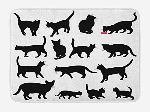 Alfombrilla de baño para gatos, Siluetas de gato negro en diferentes poses Mascotas domésticas Patas de gatito Cola y bigotes, Alfombra de baño de felpa con respaldo antideslizante, Blanco y negro