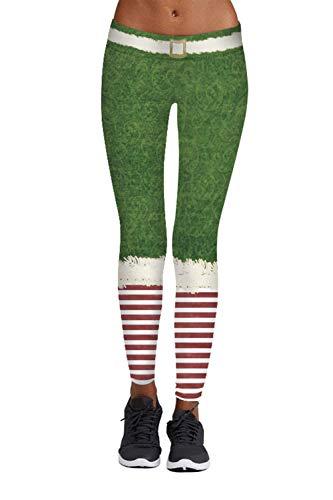 Pink Queen Christmas Santa Elf Leggings Tights Green,US S-M,Christmas Pattern 8