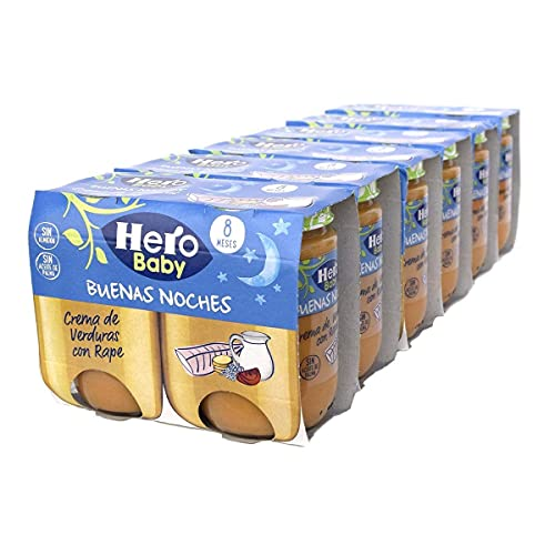 Hero Baby Buenas Noches Tarritos de Crema de Verduras con Rape - Para Bebés a Partir de los 8 Meses - 6 Packs de 2 x 190 gr