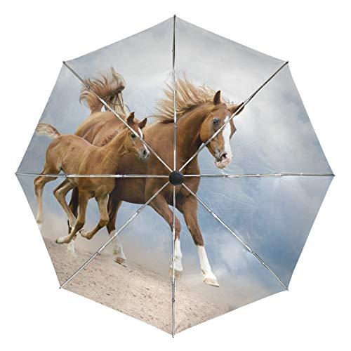 Paraguas de Viaje pequeño a Prueba de Viento al Aire Libre Lluvia Sol UV Auto Compacto 3 Pliegues Cubierta de Paraguas - yegua árabe y Potro