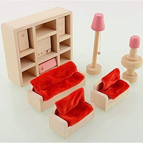 BelongsU Sala de Estar de Madera Casa de muñecas Muebles en Miniatura Sofá TV Gabinete Juego de Juguetes Muñeca Familia Juego de simulación Accesorios para niños