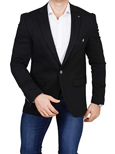 Armina Exclusive Herren Sakko Leichter Stoff Blazer Einknopf Jackett Regular Fit Anzug klassisch, Größe 50, schwarz