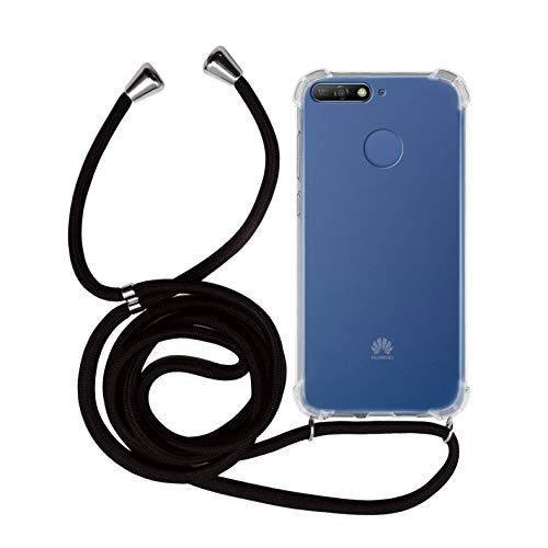 MyGadget Handykette für Huawei Y6 2018 TPU Hülle mit Band - Handyhülle mit Handyband zum Umhängen Kordel Schnur Hülle Schutzhülle - Schwarz