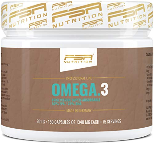 FSA Nutrition Omega 3 Triglyceride, 150 Kapseln 1000 mg Fischöl, 500 mg EPA und 250 mg DHA pro Kapsel