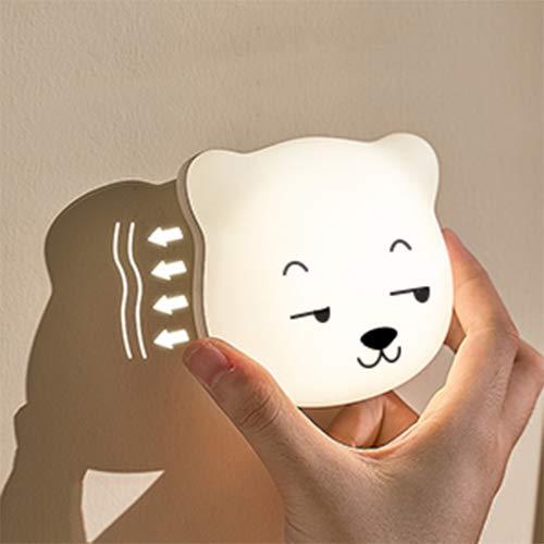 LED Nachtlicht Kinder, SYOSIN Nachttischlampe Baby Kinder Touch Lampe für Schlafzimmer, Nachttischlampen mit Gelbem & Weißem Licht & Touch Schalter, USB Batterie Baby-sicher Bruchsicher (Weiß)