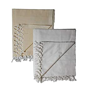 Riyashree Organic Cotton Silky Soft Bhagalpuri Dull Chadar Throw for All Season ( King Size , 53 x 96 in , Combo Pack of…