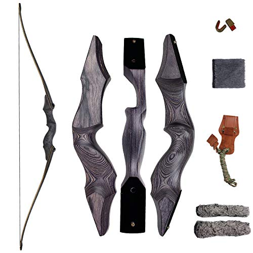 SinoArt 60' Takedown Long Bow Archery Wooden Archery Bow Included Fur Rest Pad Stringer Tool Tab String Nocks Right Hand for Hunting or Target (Right Hand 30lbs)
