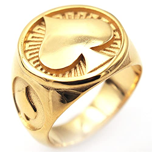 DZXCB Hombres Acero Inoxidable Poker Ace of Spades Ring Retro Punk Rock Poker Games Signet Style Ring Cocktail Jewellery,Oro,11