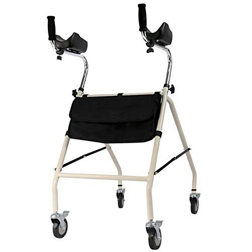 ELQ Rolling Walker for Seniors, Height Adjustable Stand Up Folding Upright Walker with Padded Armrests, 4 Wheels and Large Carrying Bag