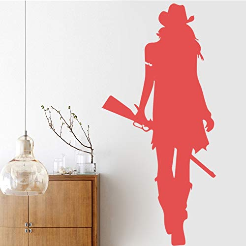 Cowgirl Wall Sticker Texas Wild West Rifle Gun Style Decoración para el hogar Sala de Estar Wall Art Wall Design