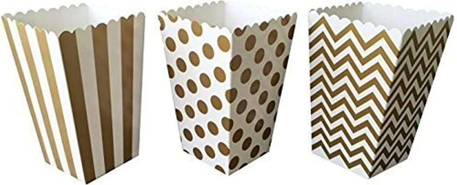 Outside the Box Papers Gold Chevron, Stripe and Polka Dot Paper Popcorn Boxes - 36 Count Gold, White