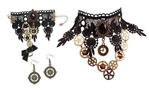MEiySH Black Lace Gothic Lolita Pendant Choker Necklace Earrings Set (Necklace Earrings...