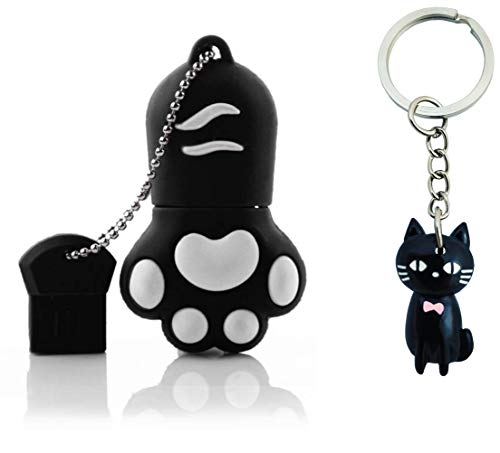 LYNNEO - Memoria USB con diseño de pata de gato, 64 GB, incluye llavero, ideal como regalo de fantasía, divertido y original Memory Stick Flash Drive Animal