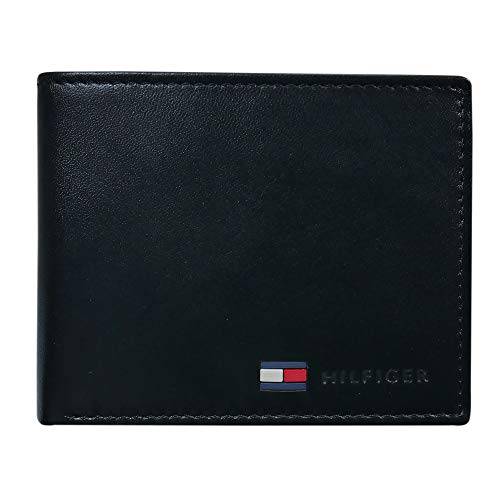 Tommy Hilfiger Men's Leather Slim Bifold Wallet with Coin Pocket, Black, One Size