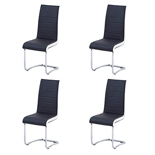 Enjowarm Dining Chairs Set of 4 Black White Sides Faux Leather Modern Black Kitchen Chairs Metal Chrome Legs High Back Dining Chair Dining Room Chairs Set for Living Room Office Waiting Room