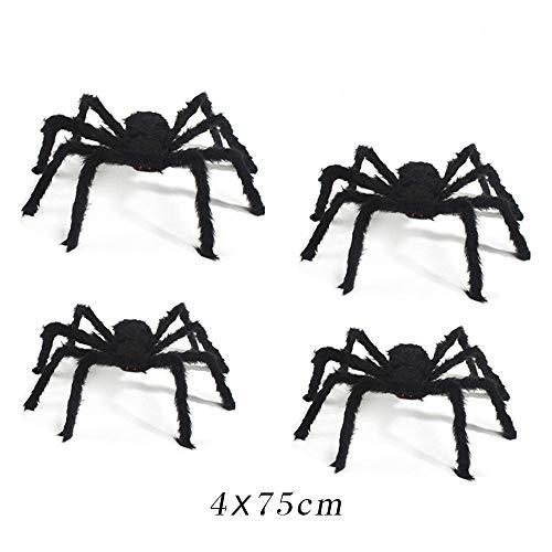CHBOP 4 x Gruselige Spinne Riesenspinne Plüsch Halloween Horror Deko biegbar 75cm lang Beine schwarz