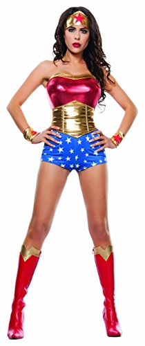 Starline Women's Lady Power Sexy Cosplay 4 Piece Costume Set, Red/Gold, Small