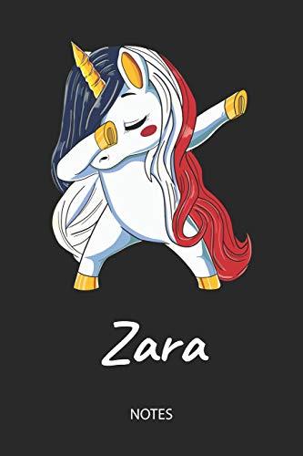 Zara - Notes: Noms Personnalisé Carnet de notes Journal pour les filles et les femmes. Licorne qui dab aux cheveux aux couleurs du drapeau français. ... anniversaire, cadeau de Noël et de fête.