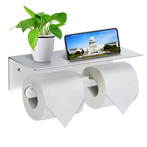 Toilet Roll Holder-Wall Mounted Toilet Paper Roll Holder, Double Rolls Tissue Holder with Storage Shelf, Aluminum Toilet Roll Stand for Bathroom and Kitchen (Silver)