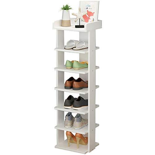 Youyijia 7 Tier Shoe Rack Organiser 104 * 25 * 27cm Shoe Rack Storage Shelf Quick Assembly Shoe Storage(White)