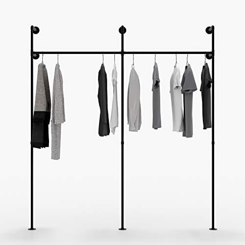 pamo Kleiderstange Industrial Loft Design - Kim II - Garderobe für begehbaren Kleiderschrank Wand I Schlafzimmer Kleiderständer aus schwarzen stabilen Rohren zur Wandmontage I Wasserrohren (2-Fach)