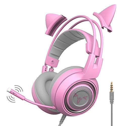 Koet Gaming-Headset mit abnehmbaren Katzenohren, verstellbarer Stereo-Kopfhörer mit Mikrofon und 3,5-mm-Stecker für SOMIC G951s Xbox One, PS4, Computer, Laptop,