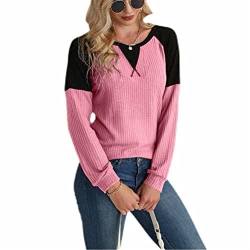 LYAZFC Multicolor Galleta otoño/Invierno de Las Mujeres suéter de Cuello Redondo Costuras sobrepuestas de Manga Larga