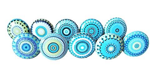 10x Mélange bleu Look vintage Fleur en céramique Boutons Poignée de porte placard tiroir Armoire tirer Compatible 003