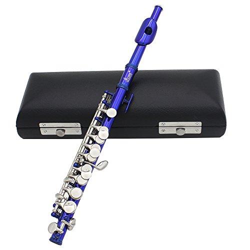 Andoer Piccolo Ottavino - Flautín, chapado, en clave de do, de cuproníquel, con grasa para corcho, paño de limpieza, destornillador y caja acolchada, azul