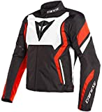 Dainese 1735212_N32_50 Edge Tex Jacket Chaqueta Moto, Negro/Blanco/Rojo Fluo, 50