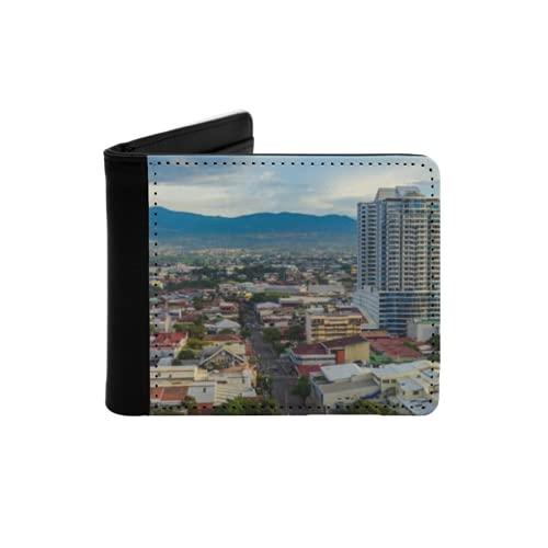 Cartera Delgada de Cuero para Hombre,San Jose Costa Rica Ciudad Capital,Cartera Minimalista con Bolsillo Frontal Plegable