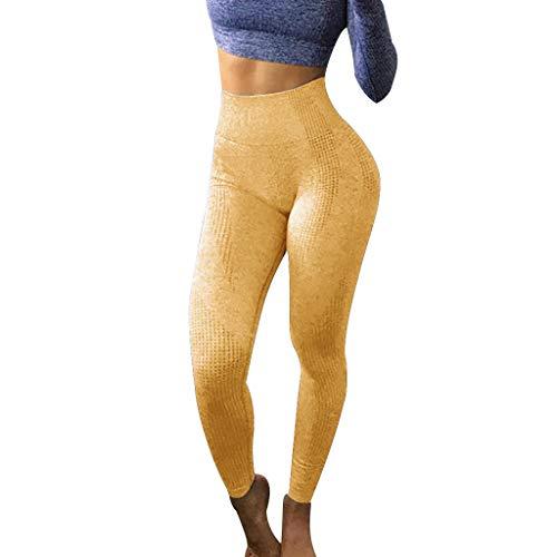 Xmiral Damen Hip Lift Nahtlose Jacquard High Taille Schnell Trocknende Hose Fitness Sport Yoga Hose(Gelb,L)
