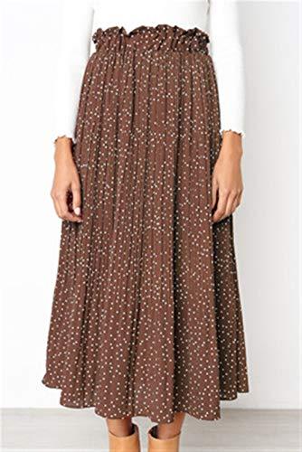 Basbsa Röcke für Frauen Frauen Weiße Punkte Blumendruck Falten MIDI Rock Frauen Elastische Hohe Taille Seitentaschen Röcke Sommer Elegante Weibliche Bottom (Color : Brown, Size : Medium)