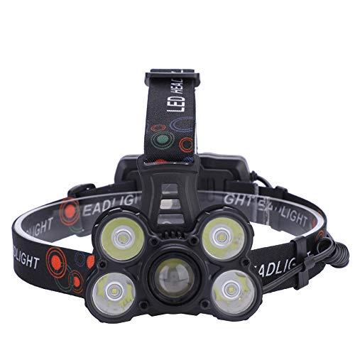 Wash basin-FEI 4000LM 5 LED USB faro zoomable faro cabeza luz lámpara antorcha linterna (A) LED faro LED cabeza luz LED cabeza antorcha LED cabeza linterna linterna linterna LED
