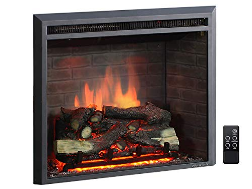 PuraFlame 26 Inches Western Electric Fireplace Insert with Fire Crackling Sound, Remote Control, 750/1500W, Black