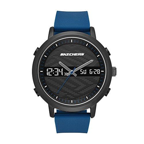 Skechers SR5072 Reloj Análogo/Digital para Hombre con Correa de Silicon, color Negro/Azul