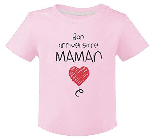 Green Turtle Cadeau pour Maman - Bon Anniversaire T-Shirt Bébé Unisex 18M Rose