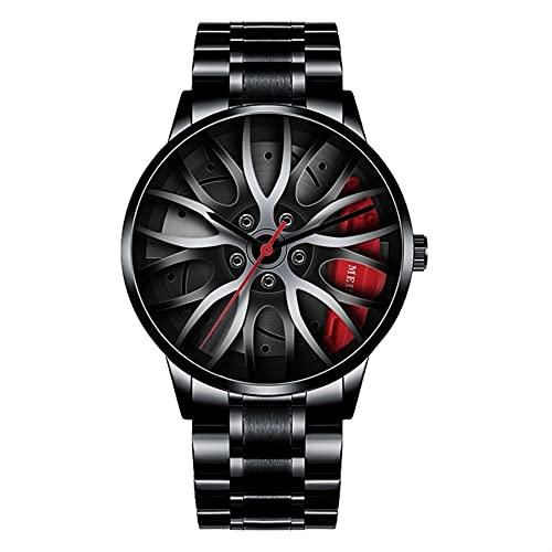 Relojes para Hombres Rueda de Rue Rueda de Reloj Malla Rim HUB Esteraoscópico Diseño estereoscópico Movimiento de Cuarzo Reloj de Pulsera Apariencia analógica para Hombre (Color : Red)