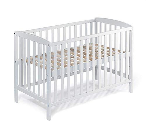 Babybett Gitterbett Kinderbett MIA 120x60 cm BUCHE weiss